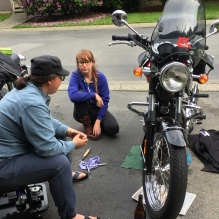 learning from a wise rider / Lee Stebner / up near Burnaby Mountain / Thanks for helping and teaching