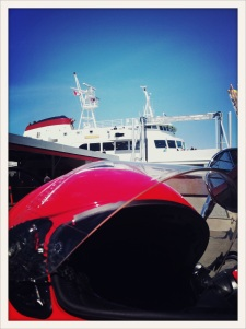 Ferry from Victoria, BC to Port Angeles, WA / helmet